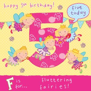 Age 5 Flying Fairies Birthday Card TW055